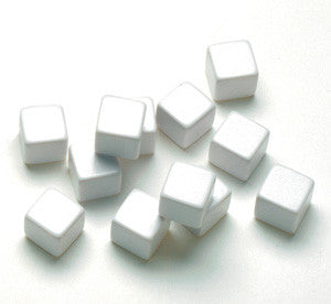 Blank 6-Sided Dice White - 16mm