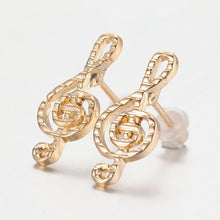 Load image into Gallery viewer, Stud Earrings Treble Clef Lined Gold