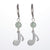 Stainless Steel Drop Earrings Eighth Note and Stone