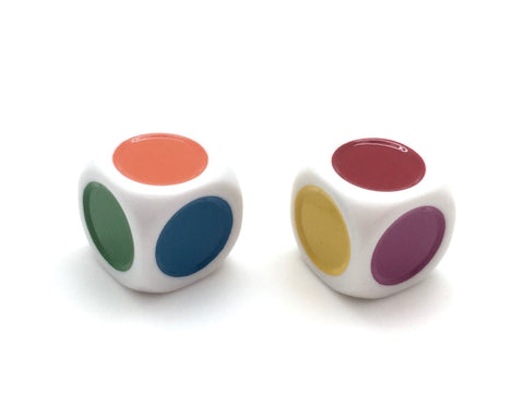 Single Spot Dice - Yellow Red Blue Pink Orange Green - 20mm - d6