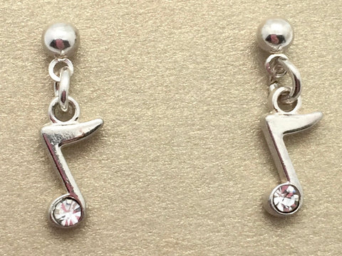 Eighth Note Small Dangle Earrings Silver