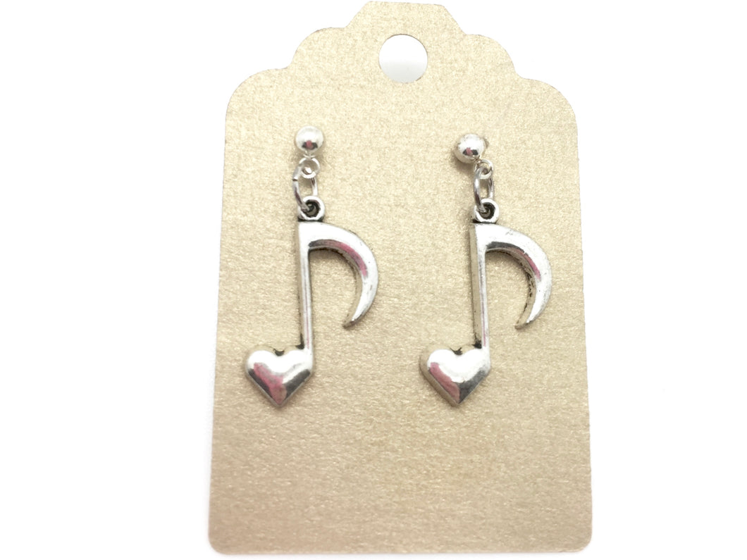 Dangle Post Eighth Note Heart Earrings Silver