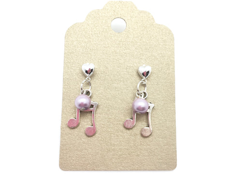 Sixteenth Note Pink Pearl Dangle Earrings Silver