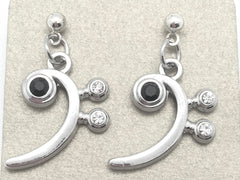 Bass Clef Dangle Earrings Silver
