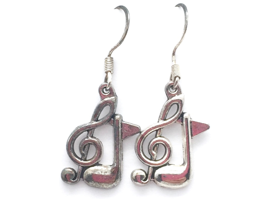 Dangle Fish Hook Treble Clef Eighth Note Earrings Silver