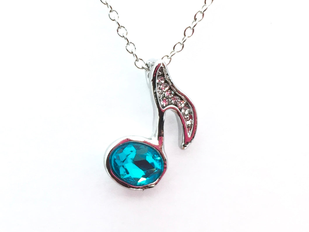 Eighth Note Rhinestone Necklace Blue