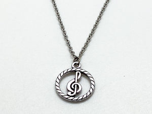 Treble Clef In Circle Necklace