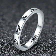925 Sterling Silver Music Notes Ring