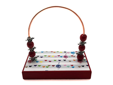 Music Staff Hearts Bead Counter - Red