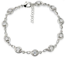 Load image into Gallery viewer, 18K White Gold Plated Cubic Zircon Treble Clef Link Adjustable Bracelet