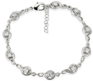 18K White Gold Plated Cubic Zircon Treble Clef Link Adjustable Bracelet