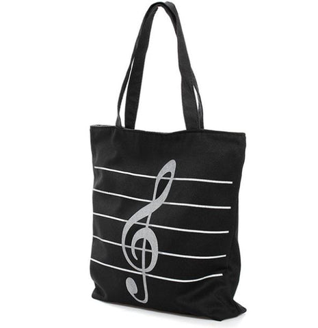 Treble Clef Music Tote Bag BLACK