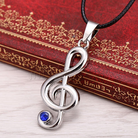 Treble Clef Nylon Cord Necklace
