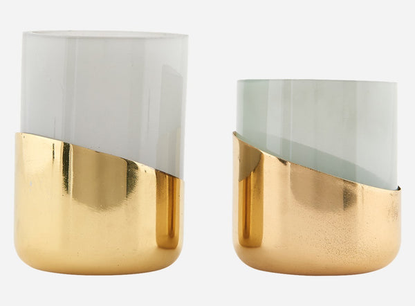set of smoked glass and brass candle holders
