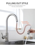 Smart Touch Sensor Kitchen Faucet With Pull Down Sprayer & Adjustable Stream