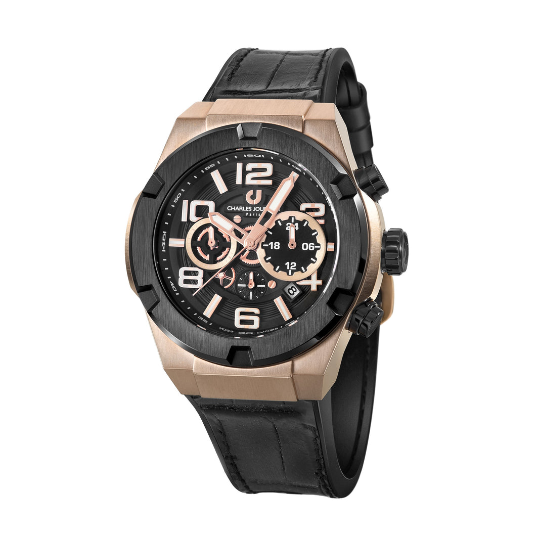Ludis CJ1089-1535C Men Sports Quartz 45mm Leather