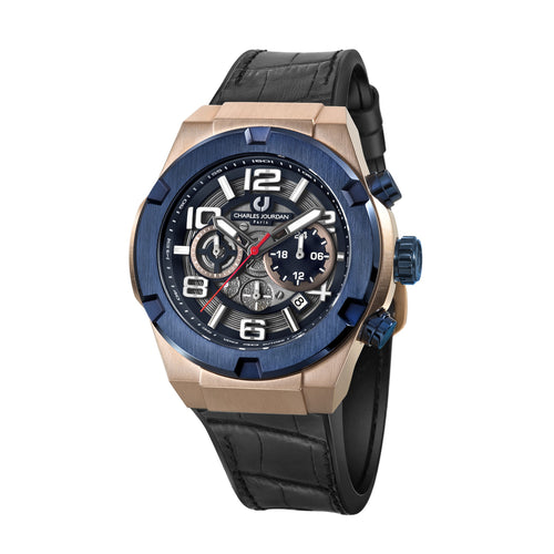 Ludis CJ1089-1785C Men Sports Quartz 45mm Leather