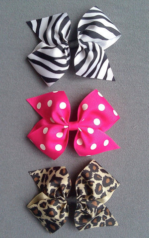 Animal Prints 3 Large Bow Set with Clips