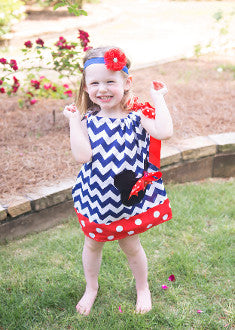Blue & White Chevron w/ Red Dot Trim  Pillowcase Dress