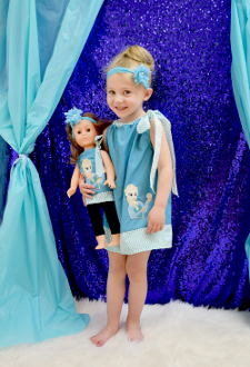 Blue & White Chevron, Princess Elsa from Frozen Pillowcase Dress
