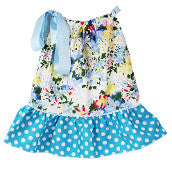 White & Blue Floral Print w/ Dot Trim Pillowcase Dress