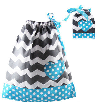 Gray & White Chevron w/ Aqua Dot Trim Pillowcase Dress