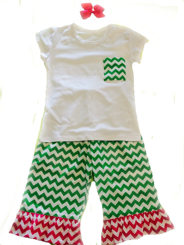Lime Chevron Pants Set