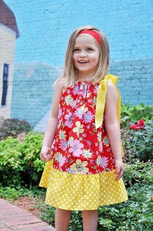 Red Floral Pattern with Yellow Polka Dot Trim Pillowcase Dress