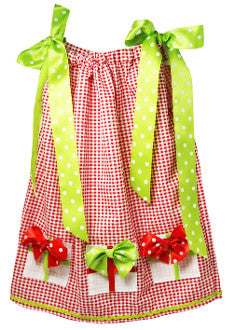 Red & Lime Gingham & Gift Box Accents Pillowcase Dress