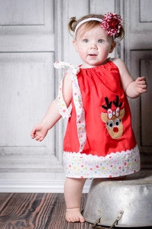 Red with White Polka Dot Trim Pillowcase Dress w/ Clarice Accent