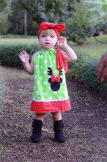Reindeer Minnie Mouse Lime & Red Polka Dot Pillowcase Dress
