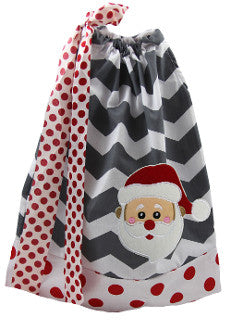 Santa Claus Gray Chevron with Red Dots Pillowcase Dress