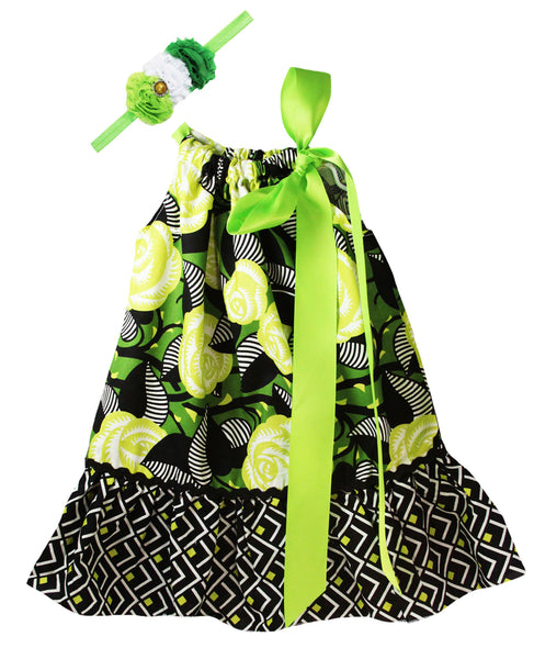 Tropical Green & Black Floral Print Pillowcase Dress Set