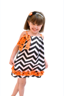 Black Chevron Dress with Spider Trim