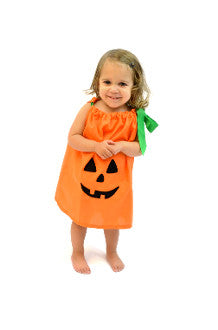 Orange Pumpkin Dress with Green Ribbon
