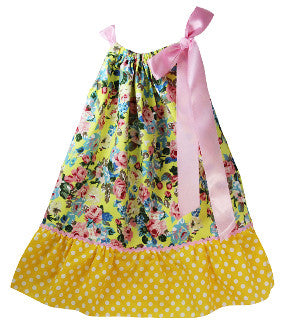 Yellow & Pink Floral & Dot Print Pillowcase Dress
