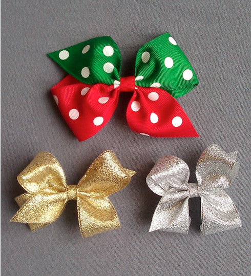 Christmas 3 Bow Set with Clips