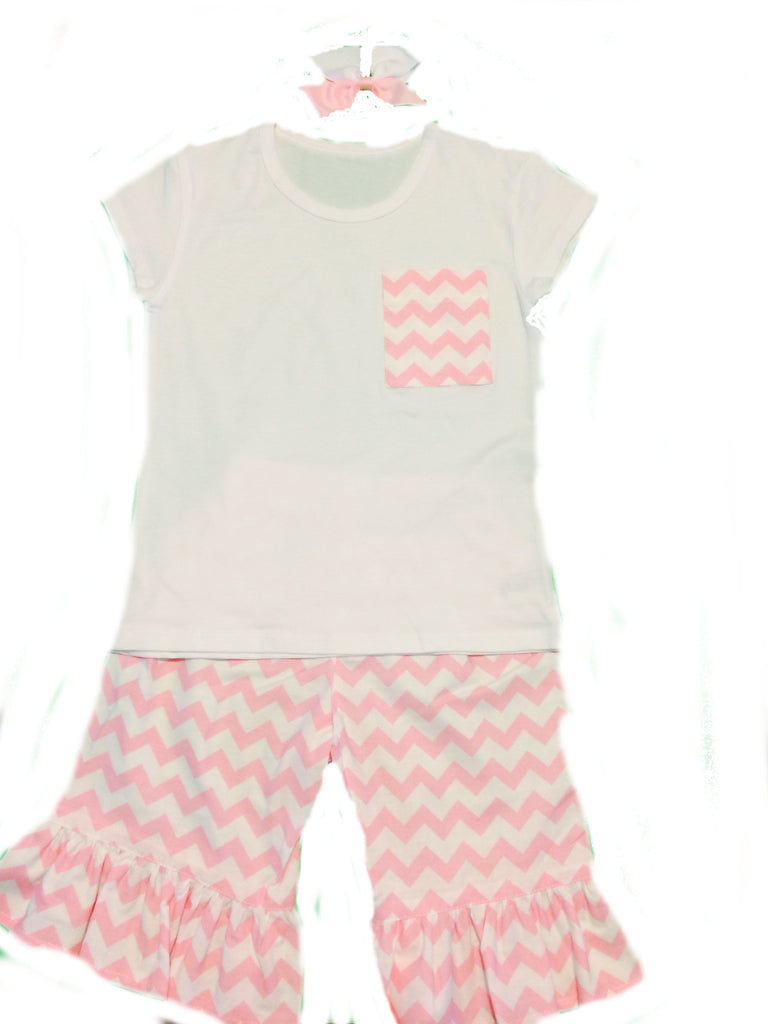 Pink Chevron Ruffle Pants Set