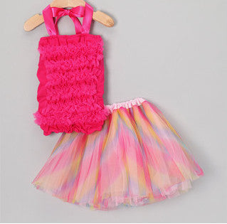 Rainbow Tutu & Hot Pink Ruffle Top