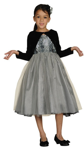 Silver Rosette Taffeta Dress with Velvet Jacket
