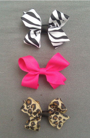Animal Print 3 Small Bow Set with Clips