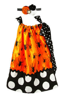 ORANGE & BLACK SPIDER SWING DRESS