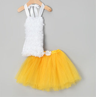 Sunshine Yellow Tutu & White Ruffle Top