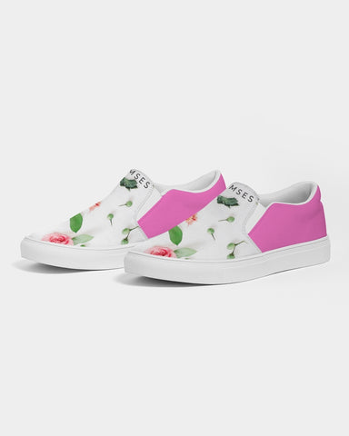Pink & Green  Women's Slip-On Canvas Shoe