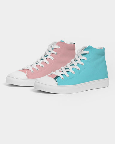 Pink & Blues  Men's Hightop Canvas Shoe
