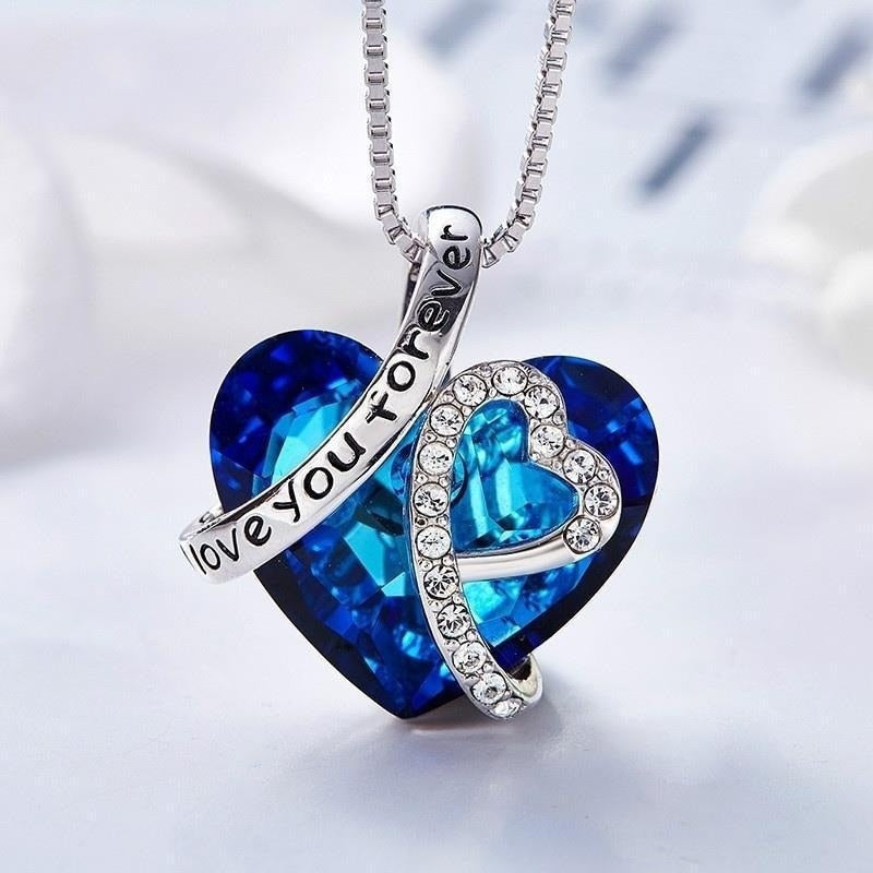 Chaîne et pendentif Heart of the Ocean '' Love you forever ''