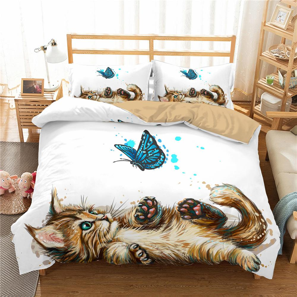 Ensemble de lit chat et papillon