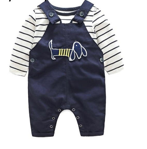 Ensemble salopette et t-shirt 3m à 24m
