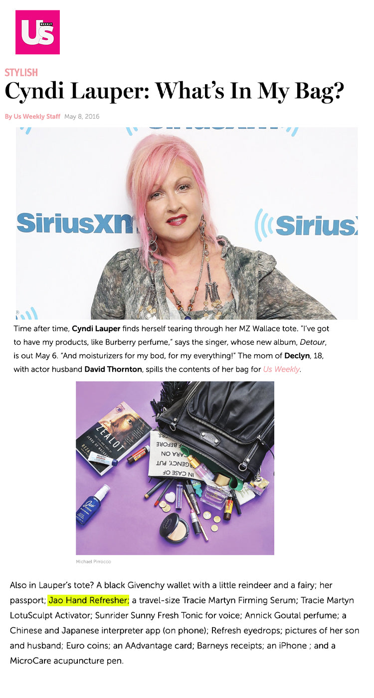 Us: Cyndi Lauper What's In My Bag Jao Refresher