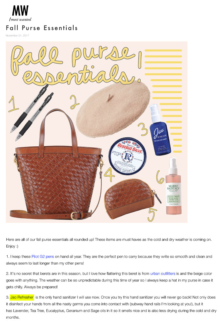 Most Wanted: Purse Essentials Jao Refresher